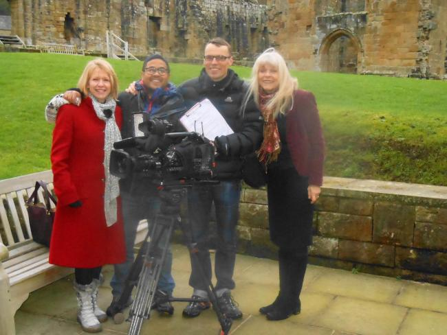 From left, are Professor Helen Berry of Newcastle University, cameraman Darren (Jazz) Alberts, BBC director Andrew Hartley and Jan Long. PHOTO: Dr Richard Long.