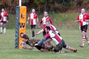 John Parker crosses the line to score a try for Bromyard. 1501_19007. Photos: JAMES MAGGS