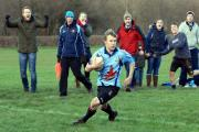 Greyhound's Pete Smith scores the first try of the afternoon at Tenbury. Photo: ANDY COMPTON