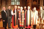 (from left) Chaplain Mike Owens, Methodist District chairman Rev John Howard, Rt Rev Richard Frith, chaplain David Dutton, president of Methodist Conference Rev Ken Howcroft, chaplain Nick Read, Rt Rev Alistair Magowan and chaplains Sue Williams and David