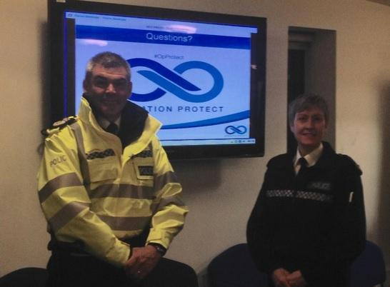 Chief Constable of West Mercia Police David Shaw and Supt Sue Thomas at 5am #OpProtect briefing in #Hereford. Photo: @WMerciaPolice