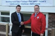 Kevin Gwillim (left), the general manager of the Jewson store in Hereford, with Hereford FC chairman, Jon Hale