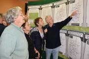 Olive Mival from Whitton looking at the options with Audrey Williams from Dolau Green, Alice Neilson from Whitton and Jim Williams from Dolau Green