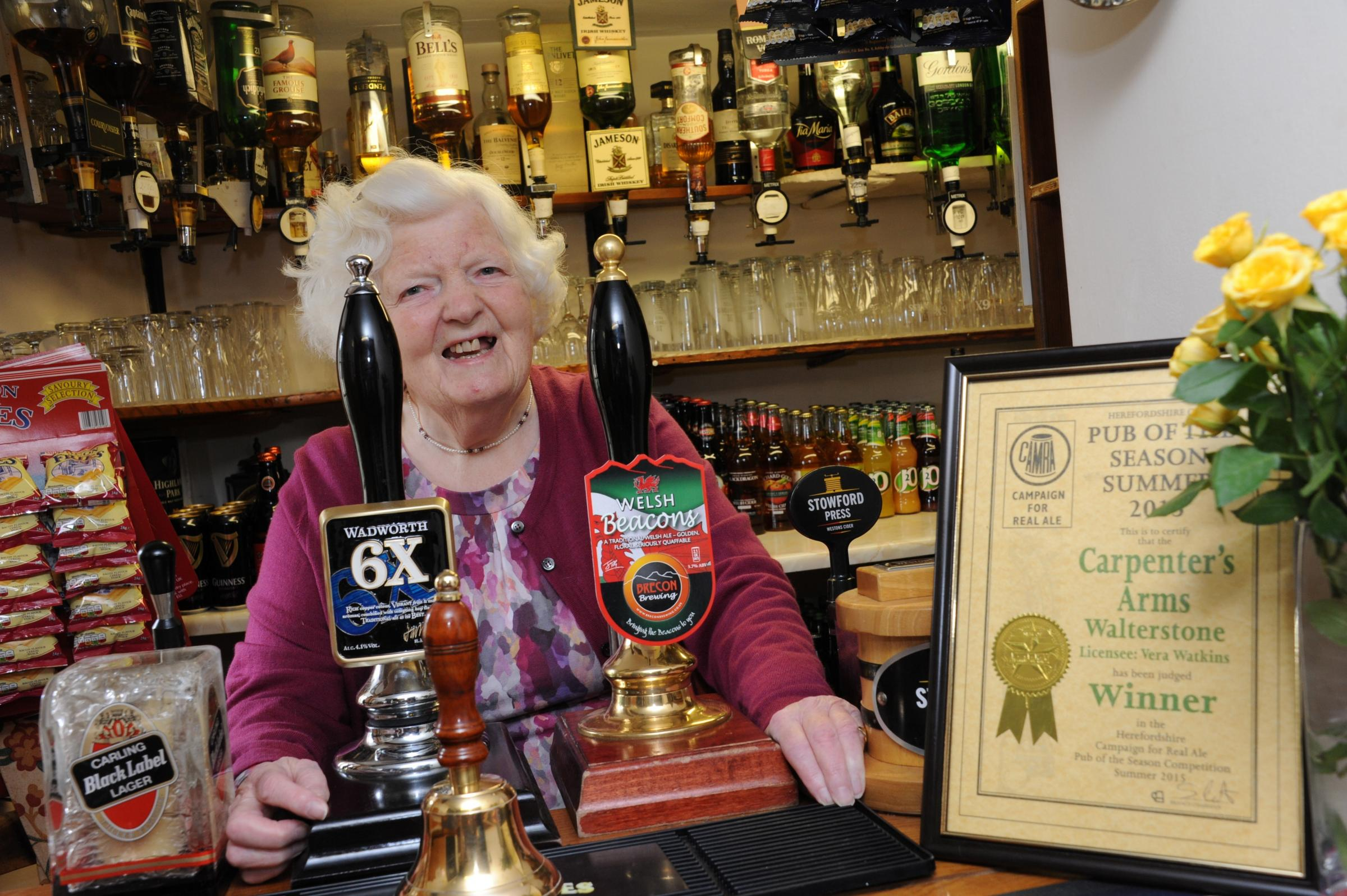 The Carpenter's Arms run by 80-year-old Vera Watkins has been named CAMRA's 'Pub of the Season'. 1523_1002 (29084976)