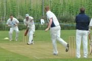 Knighton-on-Teme medium pace bowler Dan Pullen delivers to Marden batsman Sam Pratley. Photos: ANDREW COMPTON
