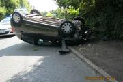 OUCH: A car overturned in Droitwich but no-one was seriously injured. Picture by Stanley Copso