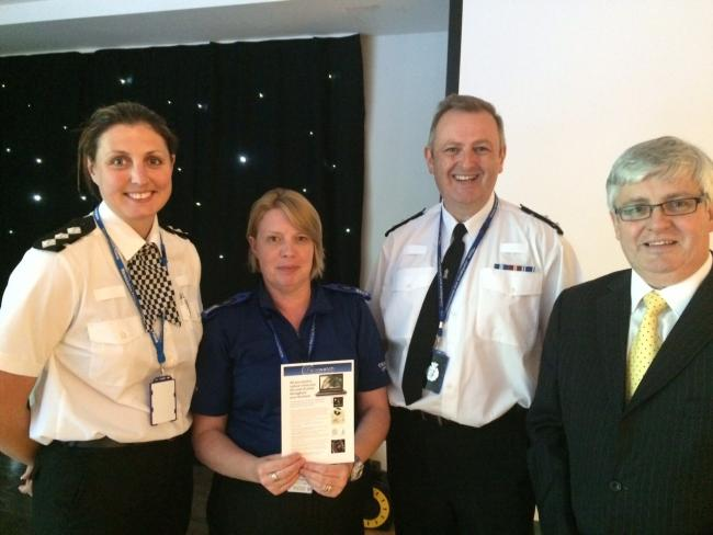 Chief Insp of South Worcestershire safer neighbourhood team Rebecca Love; PCSO Lisa Freeman; Insp of Hereford safer neighbourhood team, Nick Semper; and Michael Gordon Gibson, director of policing for Facewatch.