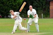 The bails go flying as Woolhope batsman Ben Park is bowled out by Garnons' Rob Pritchard. Photos: ANDREW COMPTON