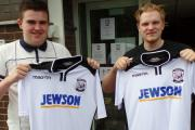 Matt Hoare (left) and James Hoare with their Hereford FC shirts