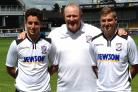 New Hereford signings Pablo Heysham (left) and John Mills (right) with manager Peter Beadle