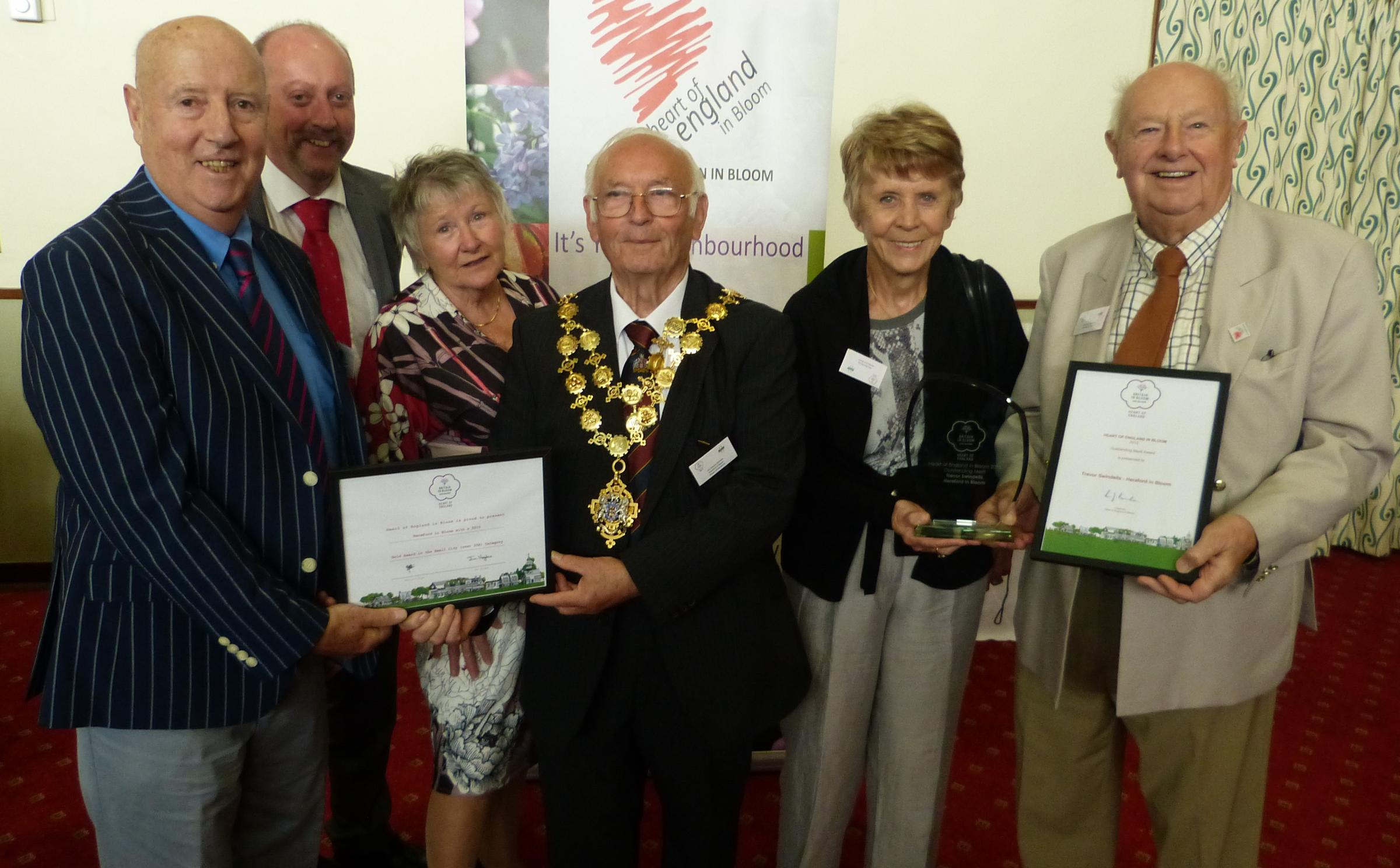 The Hereford in Bloom team, alongside the Mayor, councillor Charles Nicholls, are (from left) Peter Hill, Paul Hodges, Angela Pendleton, Rita Bishop and Trevor Swindells, who also won the award for the most outstanding contribution by an individual in the
