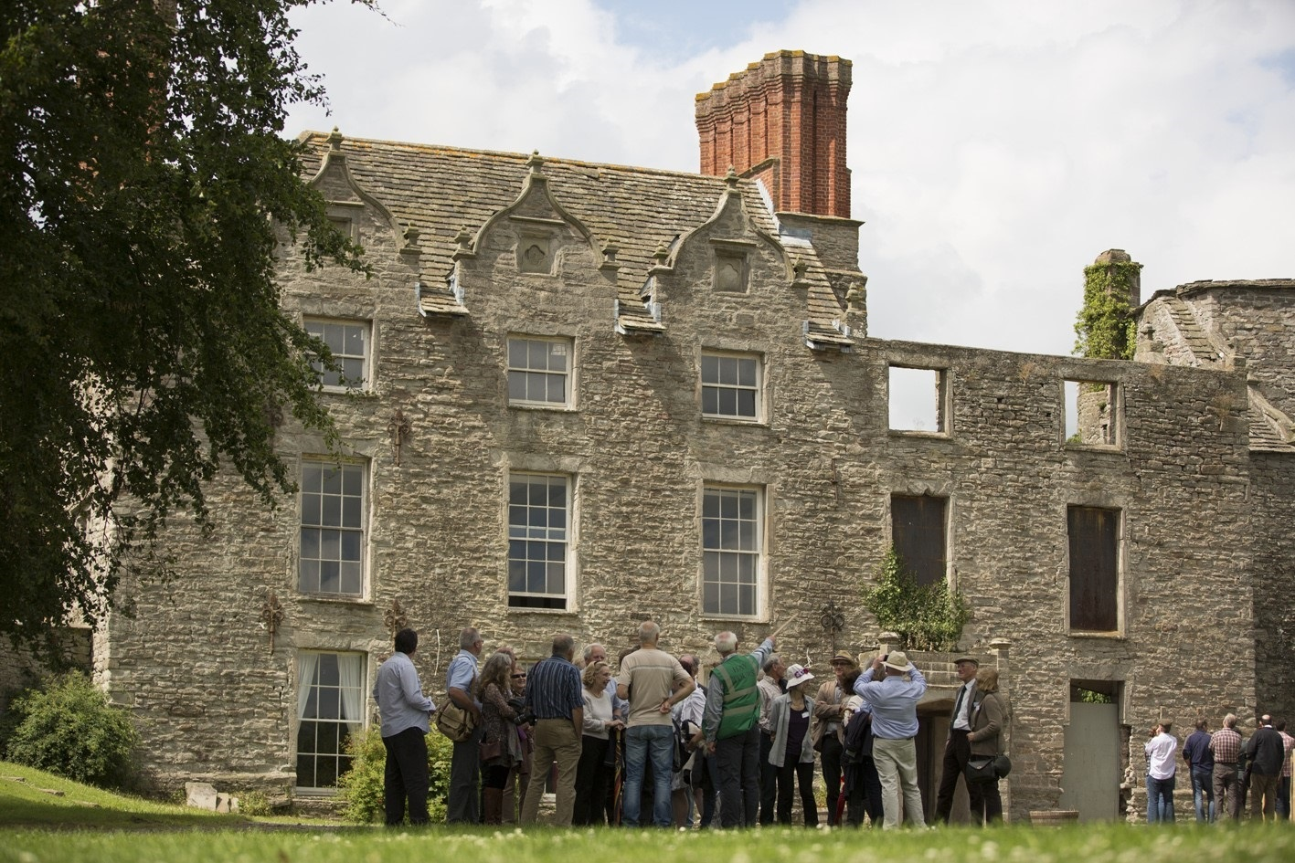 Tour group at Hay Castle. Photo by Isla Hampton.