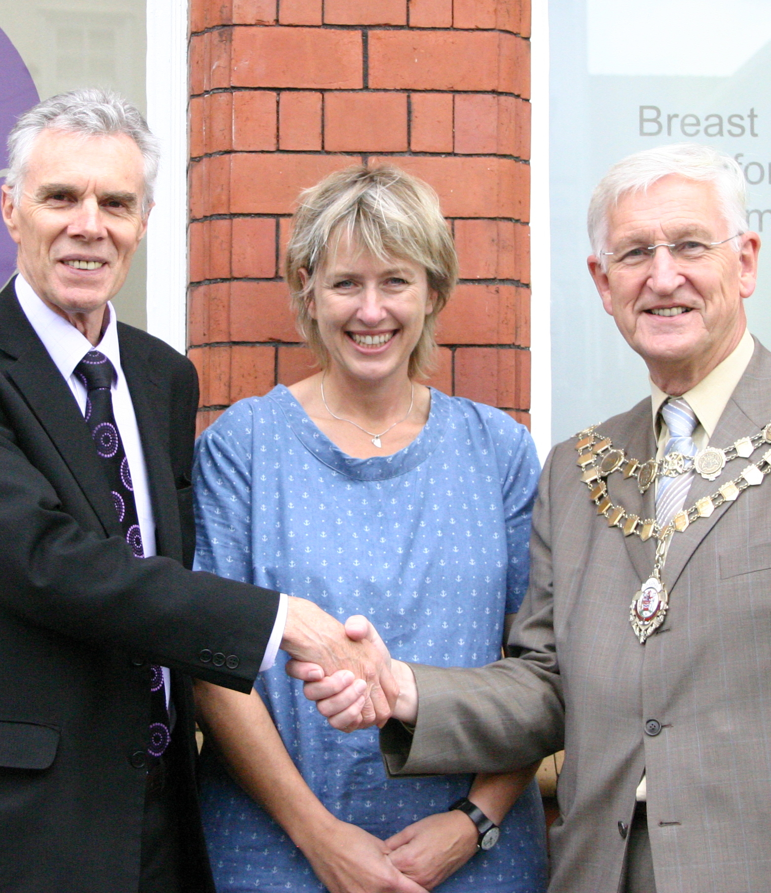 Herefordshire Council chairman Brian Wilcox (right) with Hereford Times editor Clive Joyce and Haven manager Frankie Devereux