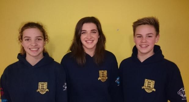 (from left) City of Hereford Swimming Club members Grace Eddy, Calypso Harvey and James Bilbao who, along with Patrick Meggitt, are off to compete in the National Short Course Championships