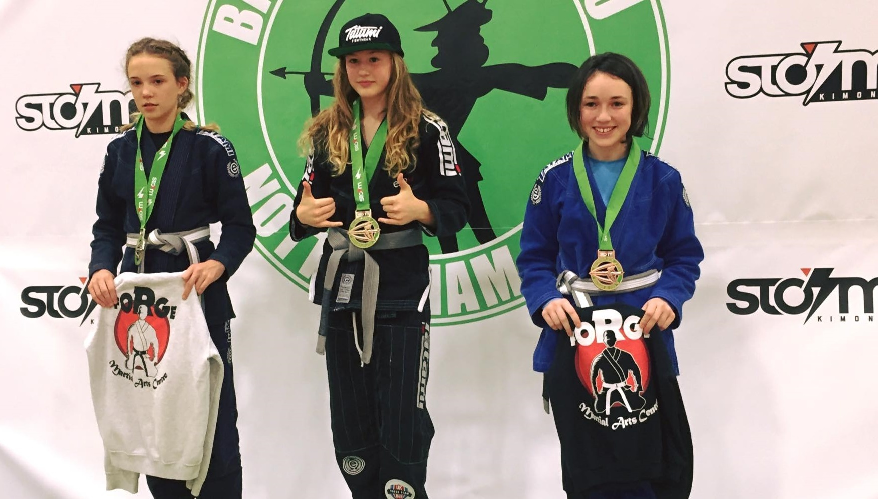 Dali Hopkins (middle), beat Makenzie Gruszka (left) and Neave Mart (right) to be crowned top Brazilian Jiu Jitsu athlete in the country