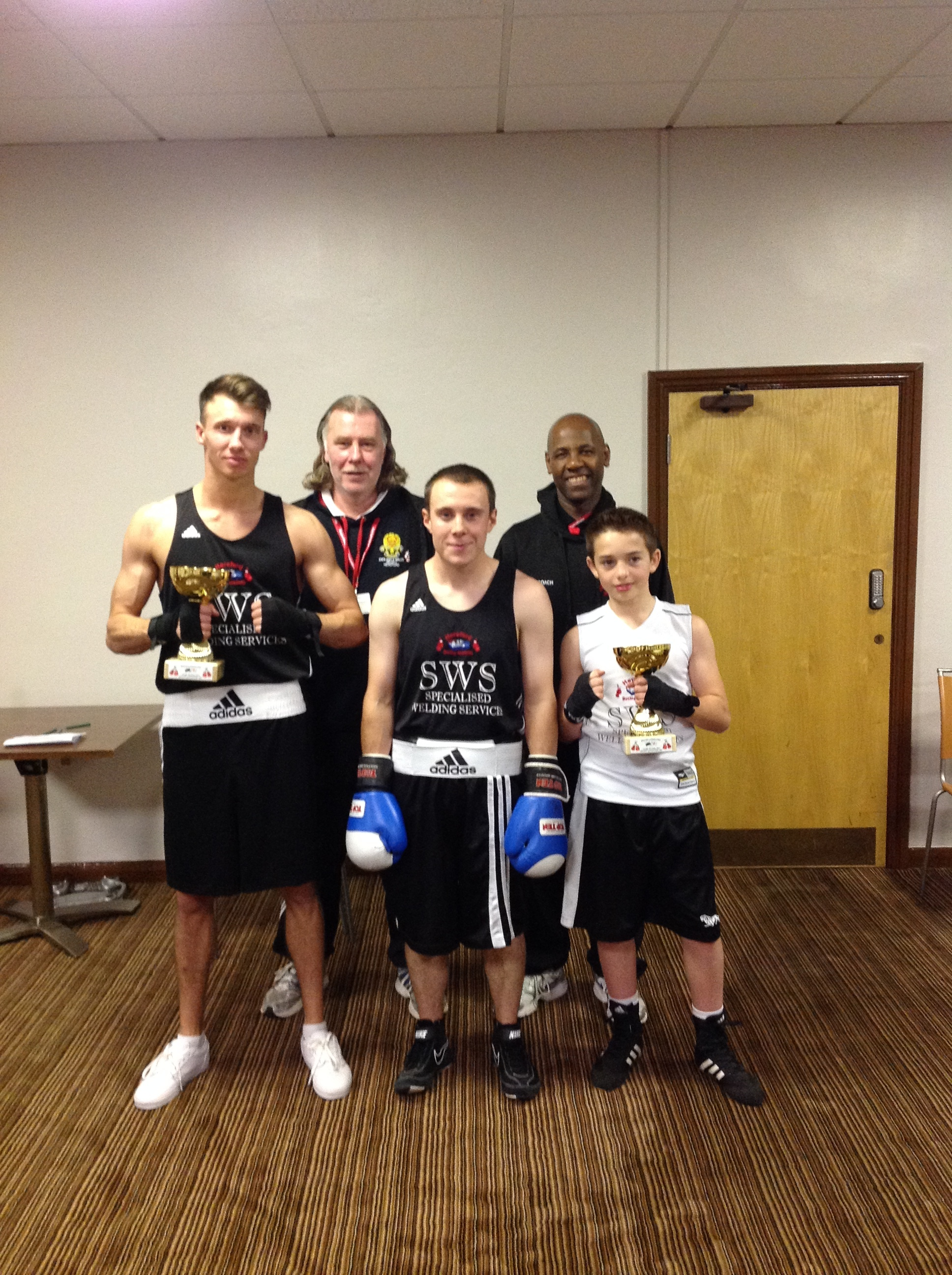 From left: Joe Donovan (boxer), Neil Gibbons (coach), Tom Beech (boxer), Del Strachan (head coach) and Callum Blackwell (boxer)