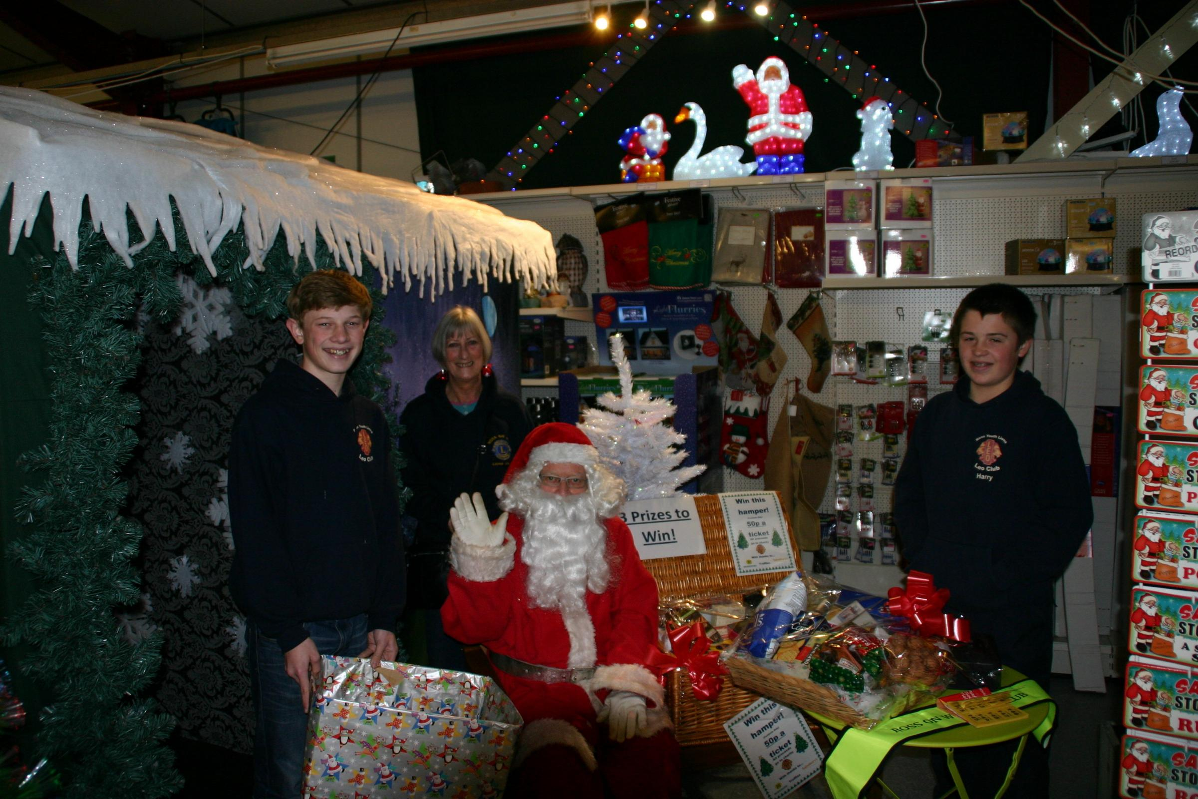 From left: Adam Middlecote, Jenny Symington, Father Christmas and Harry Davies