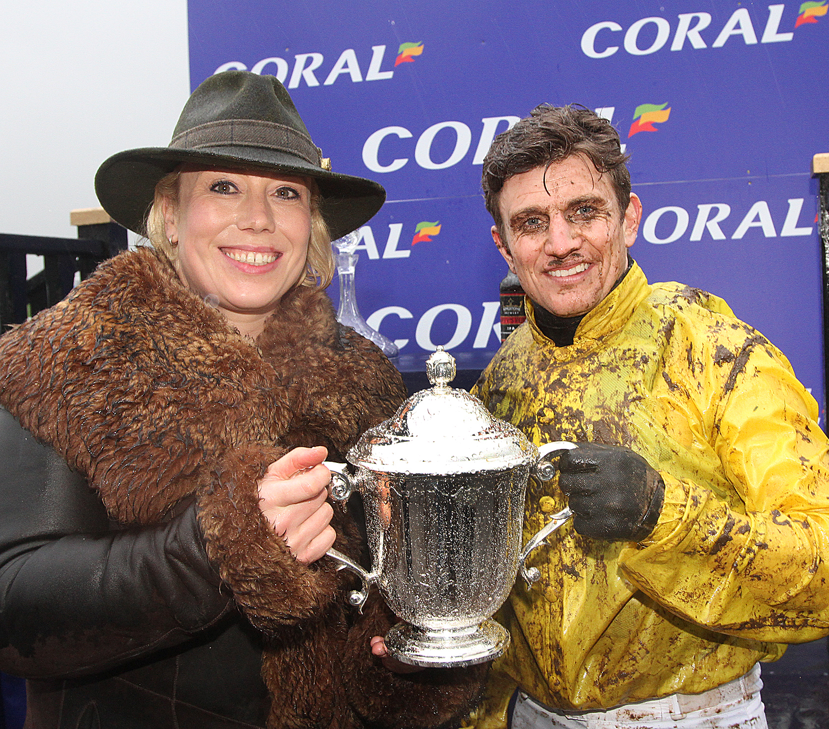 Kerry Lee, seen here with jockey Jamie Moore following a Welsh Grand National win, had another winner at Hereford