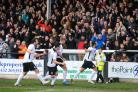 Ryan Green celebrates opening the scoring for Hereford