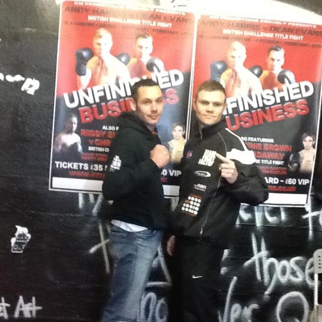 Hereford boxer Dean Evans (left) with his opponent, Andy Harris