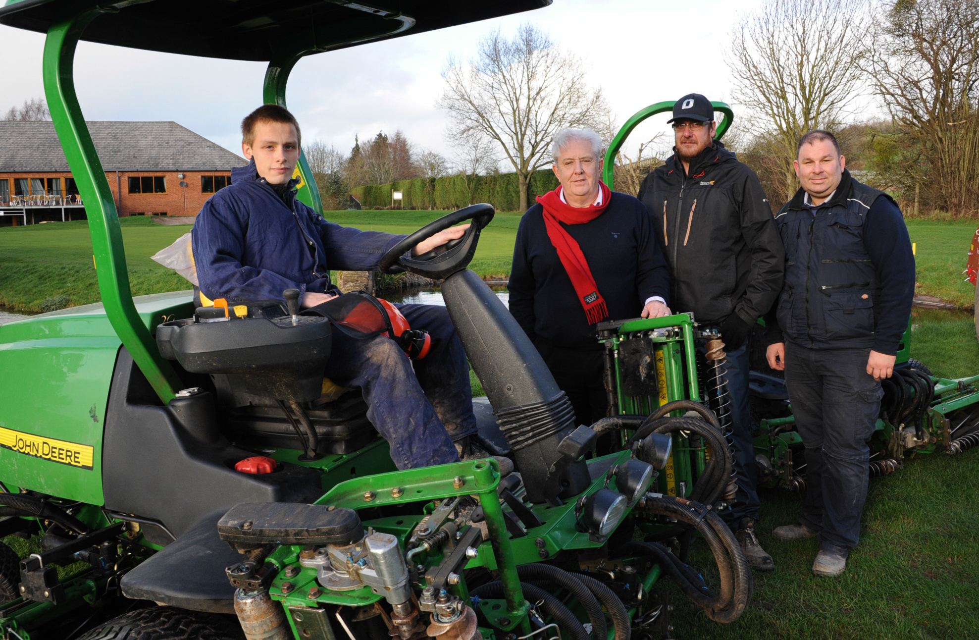 Student Dylan O'Sullivan with Leominster Golf Club member Vincent Fish and greenkeepers Mike Wood and Stephen Grealy