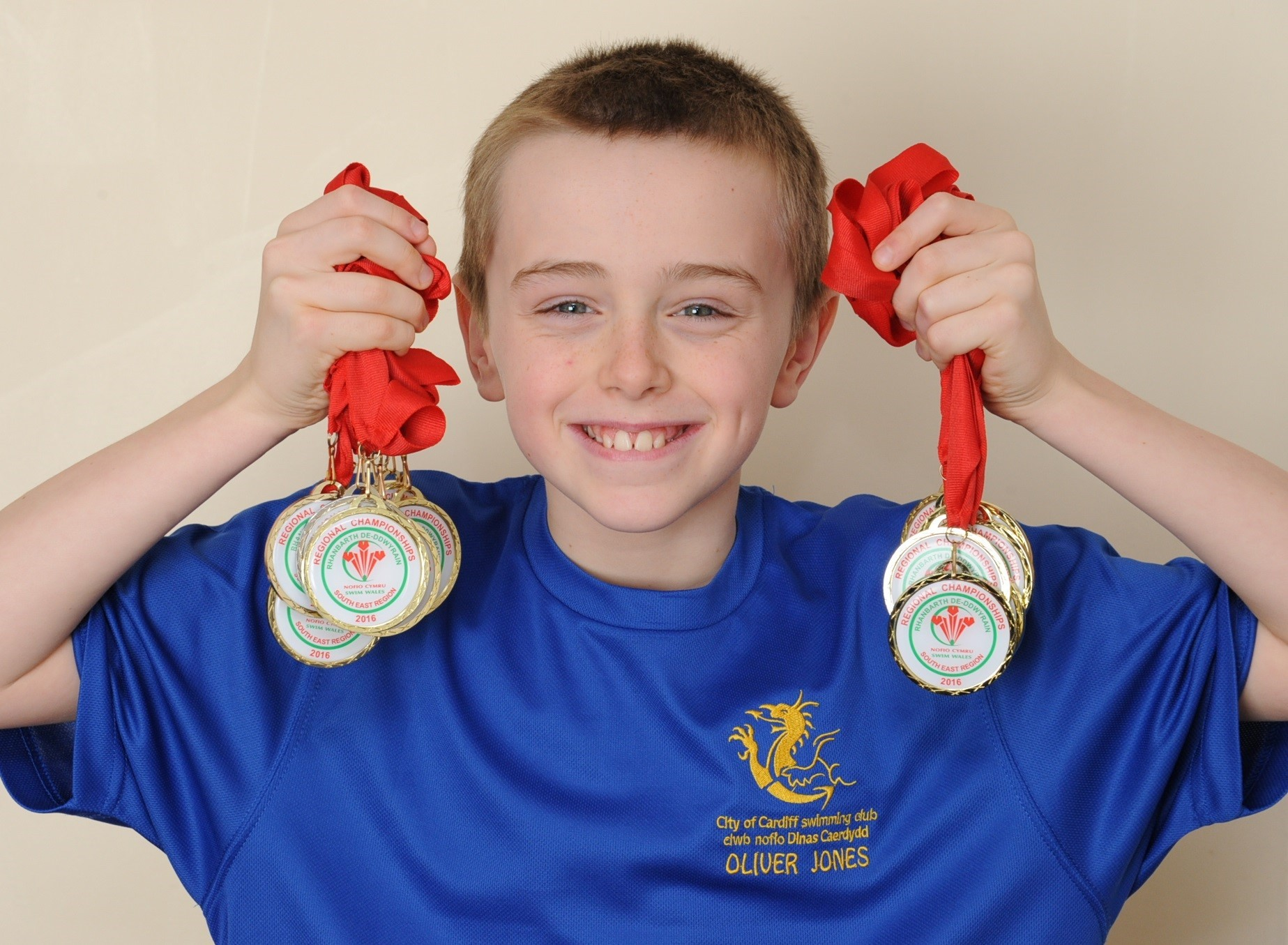 Oliver Jones won 13 gold medals and a silver medal at the South East Wales Swimming Championships. Photo: James Maggs