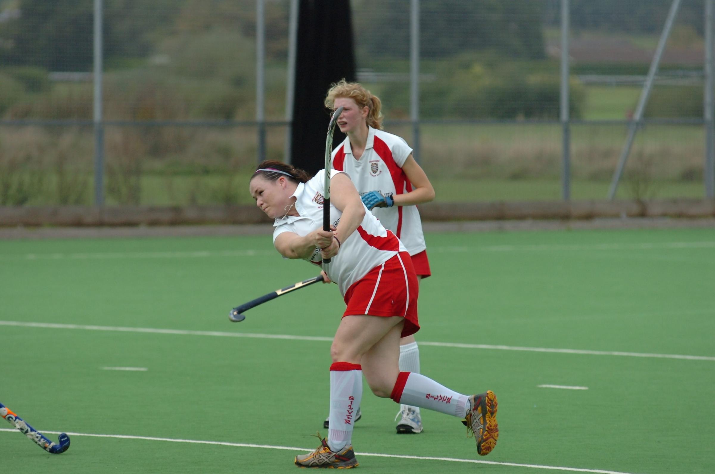 Erica Rogers, in action here in a previous game, scored a fine goal for Hereford 2nds against Bourton & Sherborne