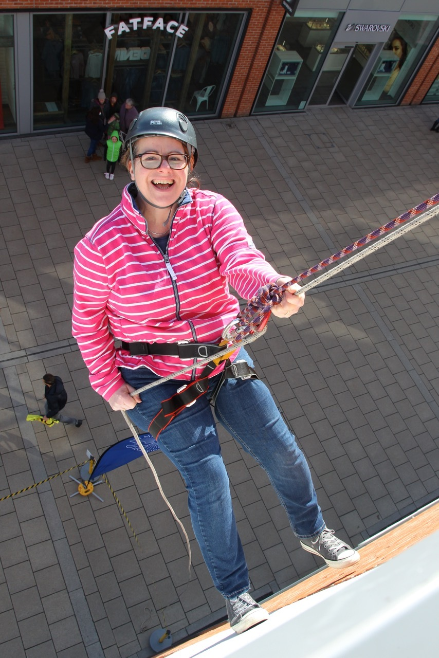 Ali Hartless, the hospice's head cook and one of those taking part in the abseil at Hereford's Old Market shopping centre