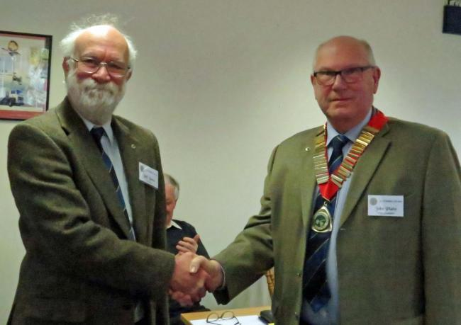 John Platts takes over from Jeff Jones as President of St Ethelbert Probus Club for the next 12 months