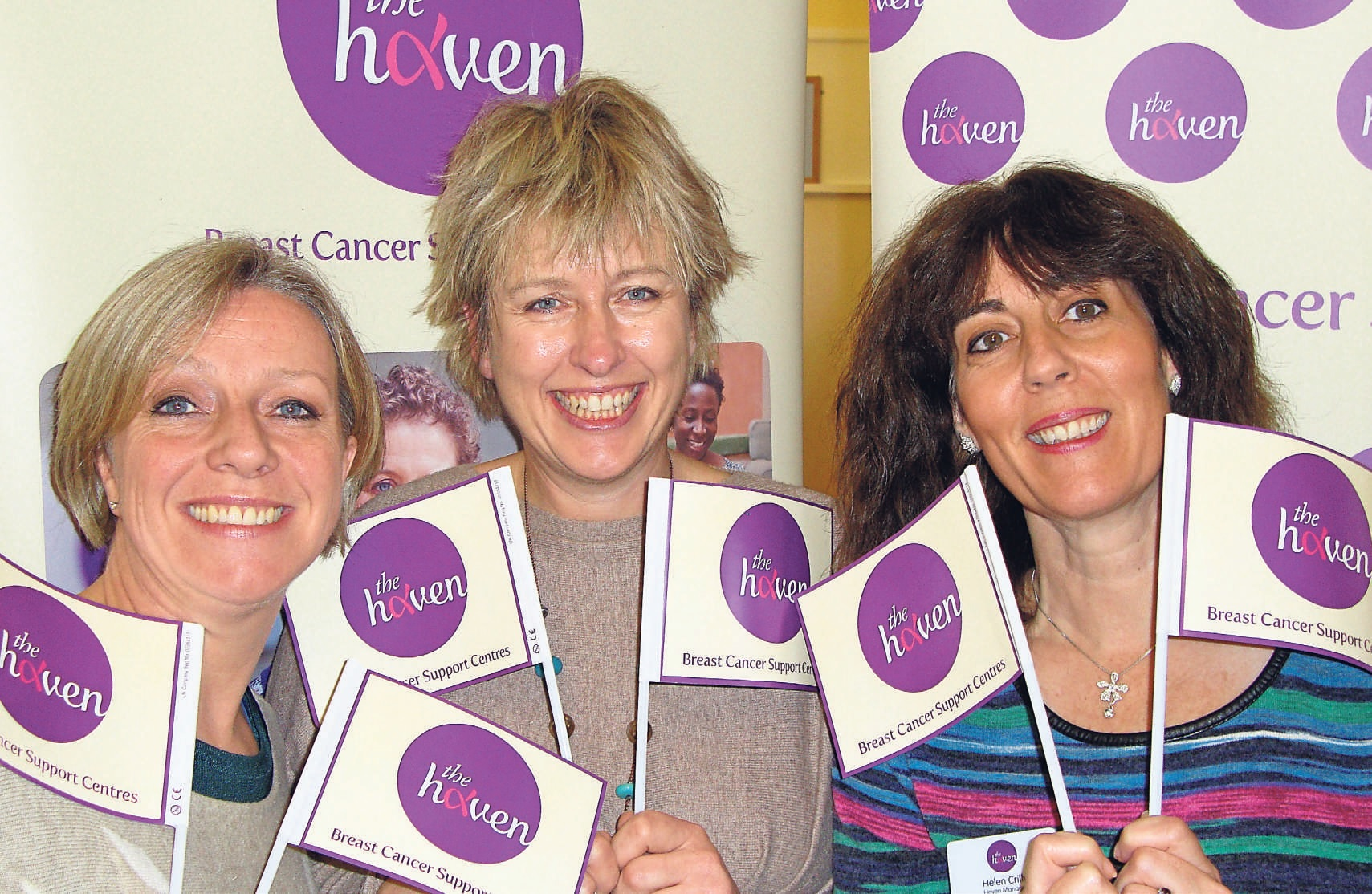 From left, Haven community fundraiser Lesley Leach, fundraising manager Frankie Devereux with Helen Crilly, manager and breast care nurse.