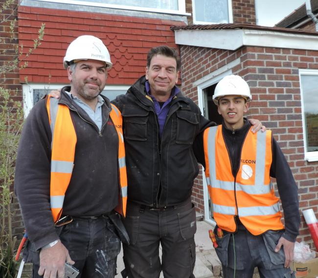 Paul Phipps and James Green with TV presenter Nick Knowles