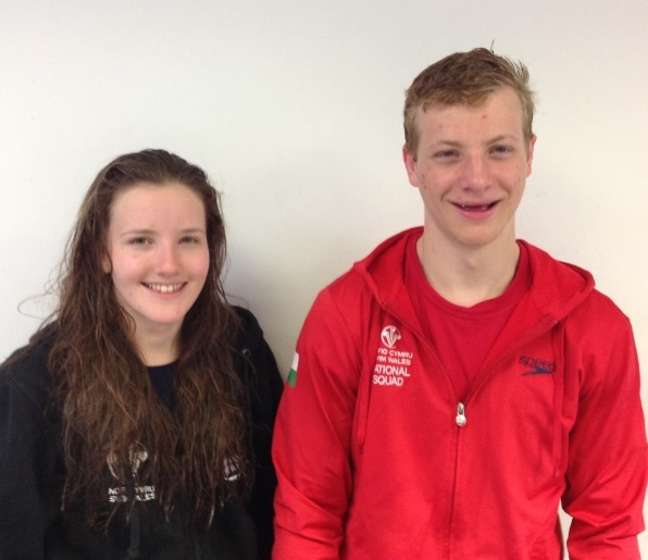 Millie Boucher and Alun Rickards who have found success with the wter polo section of the City of Hereford Swimming Club