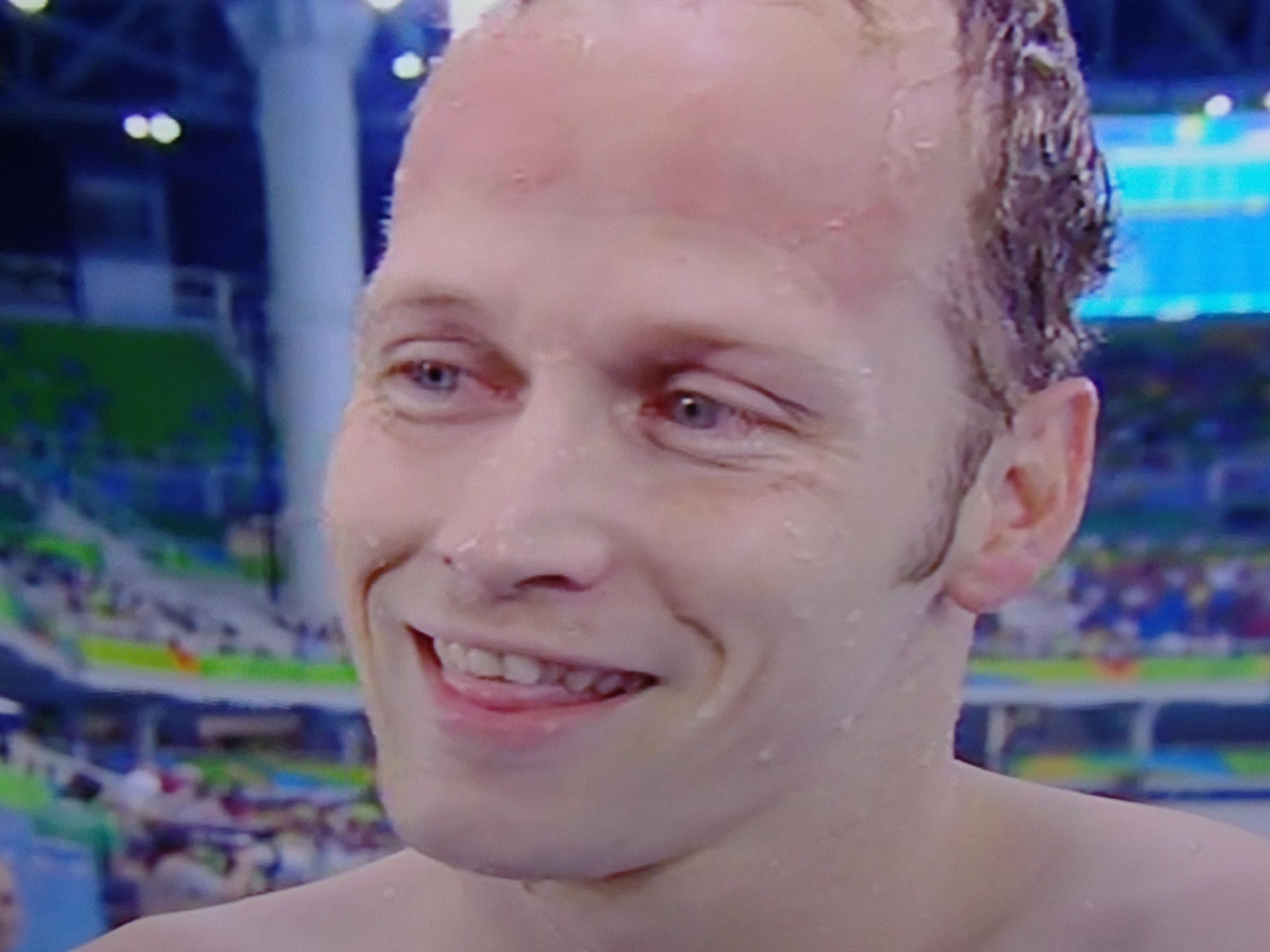 Sascha Kindred moments after winning a gold medal at Rio