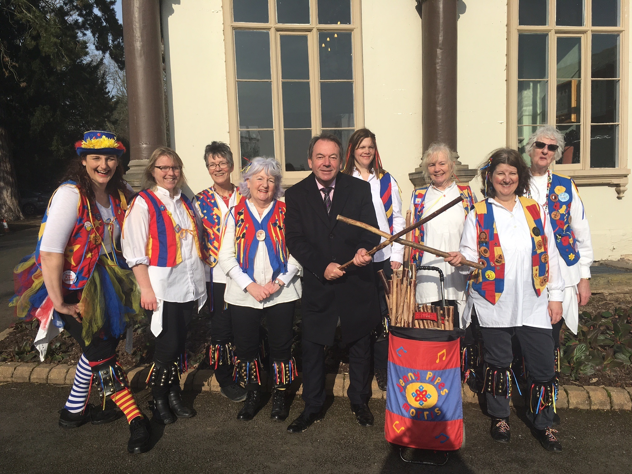 The Jenny pipes' Morris Side with Eric Knowles during a  break from filming the BBC show Bargain Hunt in Leominster
