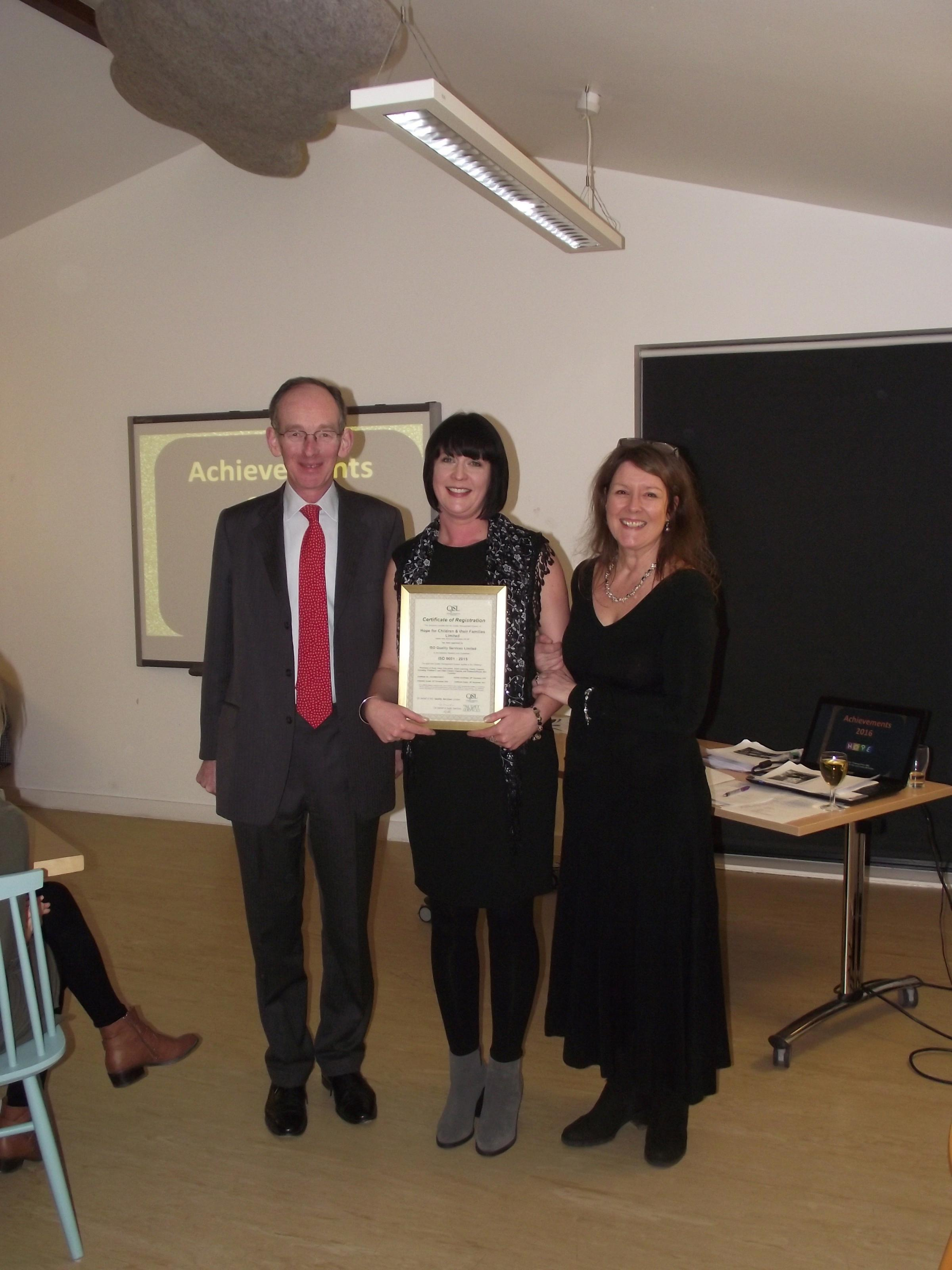 From left: Sir Andrew MacFarlane, patron, Anna Beddows, admin team leader and Sarah Eardley,chief executive officer at the HOPE Family Centre awards event.