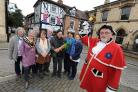 Leominster named as one of the best places to live in the Midlands...from left: Cllr Jenny Bartlett, Mayor Angela Pendleton, Trish Marsh, Julie Saxon (Grapes Pub), Nick Antink from the Merchant House Tea Rooms, Clive Parry (Parry's Fruit & Veg), Gill