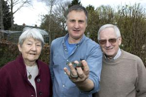 WN_210317_19 Paul Jackson 21.03.17 Ledbury - Ledbury Naturalists' Club members, from left - Janet Parry, Nigel Hand and Alan Pike with a rescued female grass snake. The club is 50 years old this year.