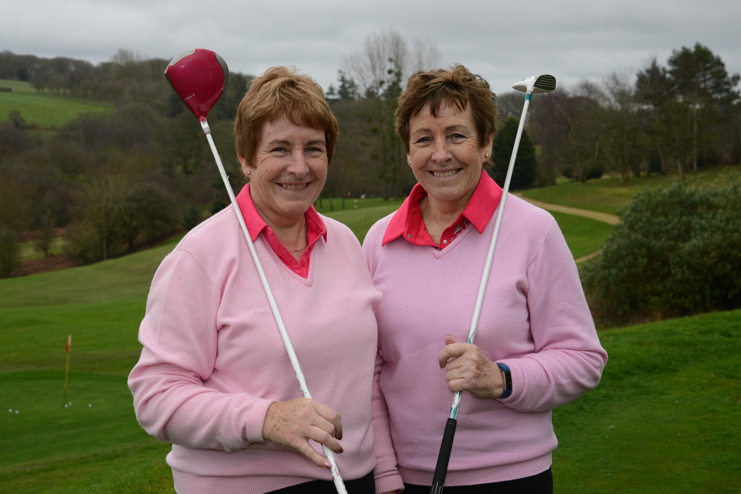Jan Preece (left) with her vice-captain and twin sister Jenny Cooke. Photo: James Maggs