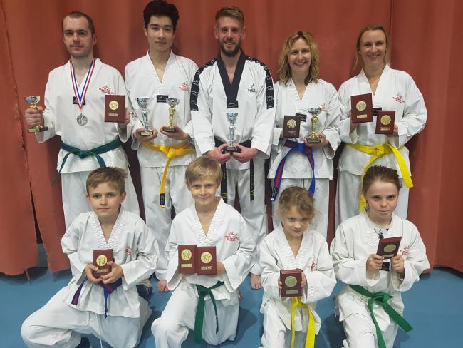 Back row, from left: Oskar Domanski, Seb Prendergast, Ben Hargreaves, Jo Canton-Smith and Laura Rackauske; front, from left: Monty Canton-Smith, Oskaras Rackauskas, Chloe Eusden-Saunders and Hannah Hadley