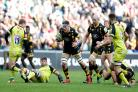 Guy Thompson in action for Wasps during the semi-final win against Leicester. Photo: Richard Lane