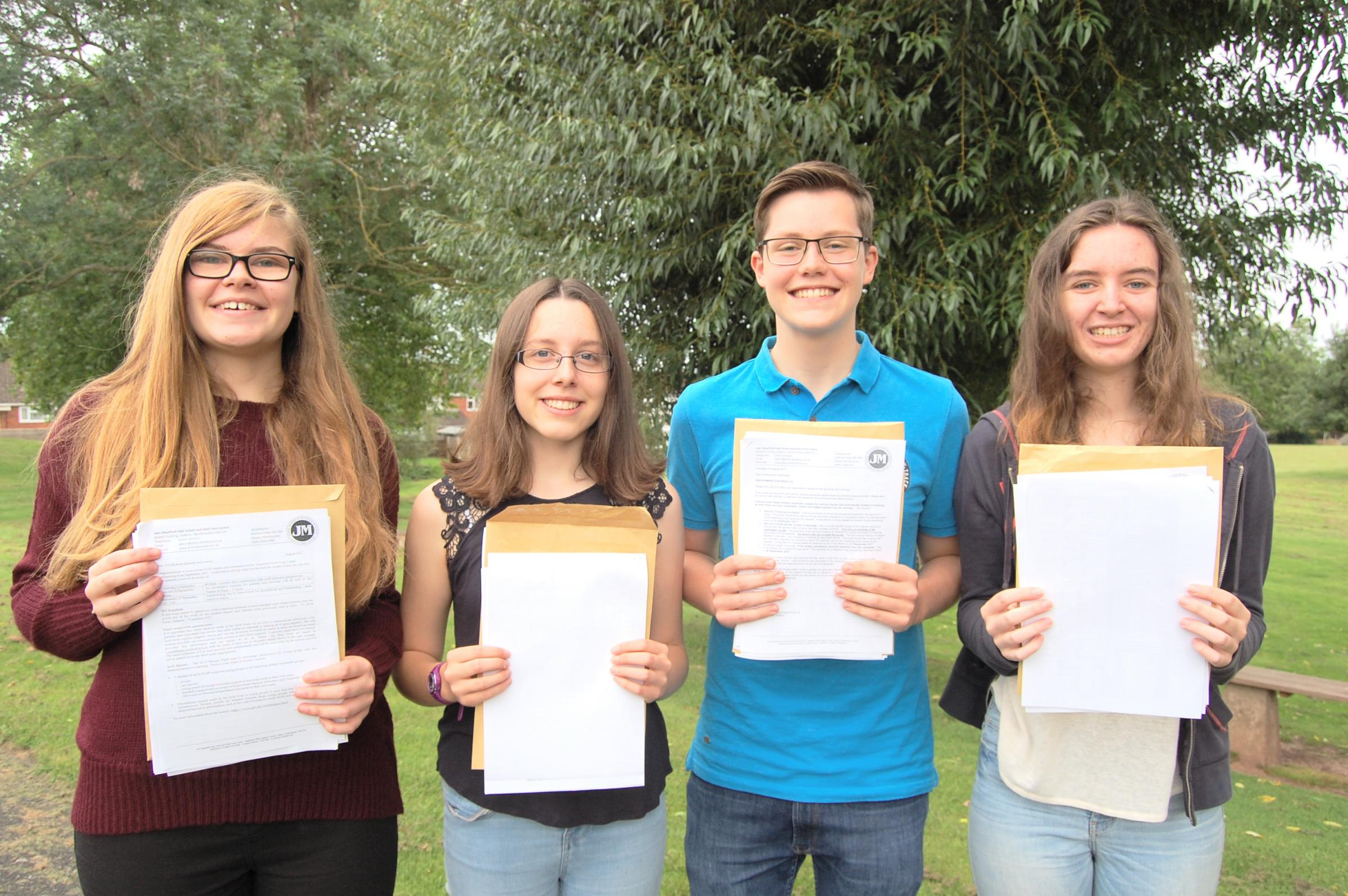 All smiles for these JMHS students, on GCSE day