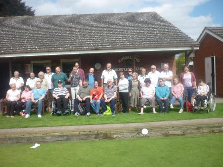 Members of the Kingsland Bowling Club with the group from ECHO on the day