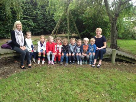 The children with teacher, Mrs Zoe Taplin and teaching assistant, Mrs Claire Bowcott