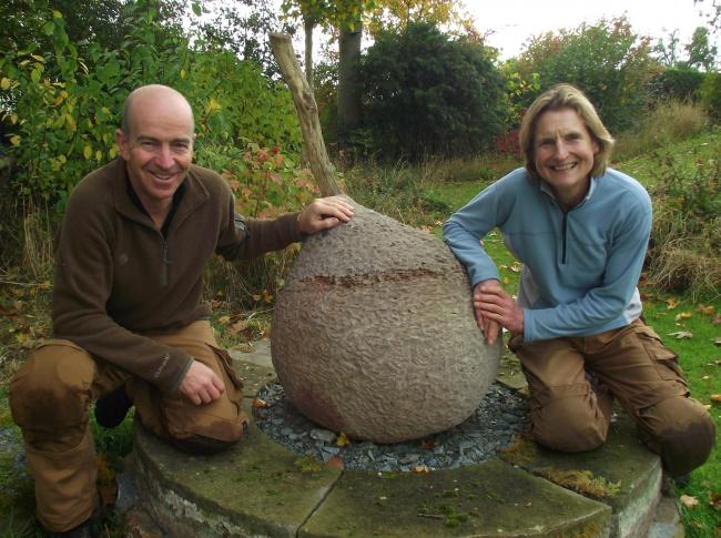 James Marsden and Helen Woodman with the pear sculpture