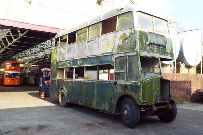 The bus that was pulled from a hedge and is now on its way to being restored