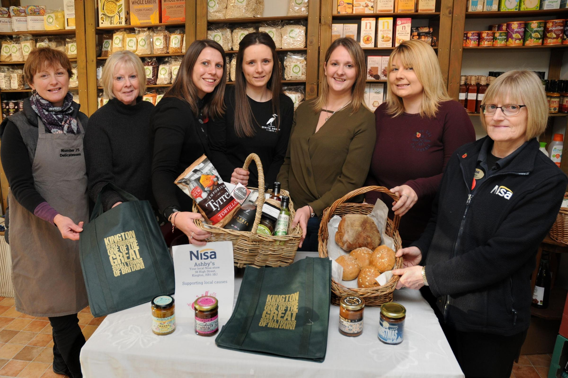 Preparing for Kington Festive Food and Drink Festival are (l-r) Helen Yeomans from Number 25 Delicatessen, Kington Food Festival organiser Pam Peek, Robyn Twiddy from Russell Baldwin and Bright, Laura Betts from British Cassis, Megan Mather from Russell B