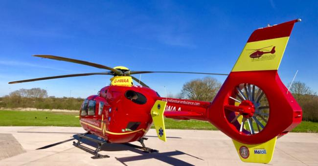A man was airlifted to hospital following a crash near Bromyard. Photo: WMAS