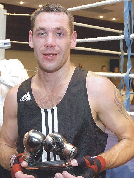 Lee Jenkins from Wye Amateur Boxing Club who won his bout.