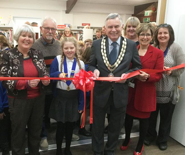 From left: Karen Plant, chairperson Knighton and District Community Centre Management Committee; Chris Plant, manager of Knighton and District Community; junior mayor and Knighton Primary School pupil Keira White; mayor of Knighton Town Council; Cllr Bob