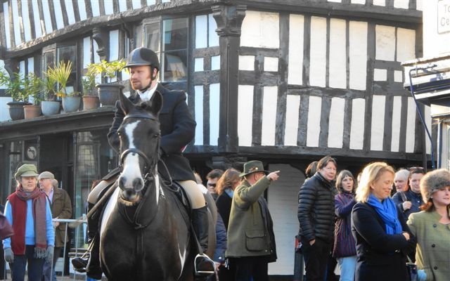 Members of the Ledbury Hunt gather in the High Street